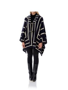 Mela London Hooded Stripe Print Cape Jacket