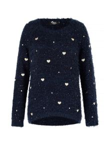 Mela London Fluffy Heart Print Jumper