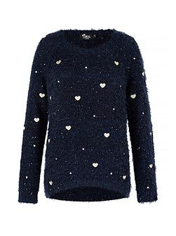 Fluffy Heart Print Jumper
