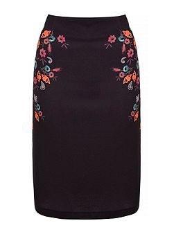 Floral Squirrel Print Pencil Skirt