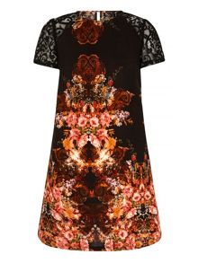 Mela London Tapestry Print Lace Shift Dress