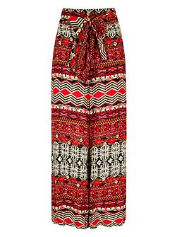 Aztec Print Flare Trousers