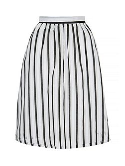Stripe Print Midi Skirt