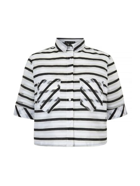 Mela London Stripe Print Cropped Shirt