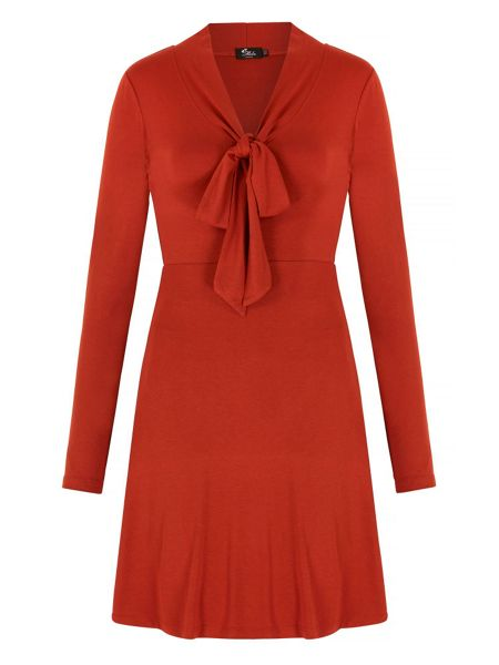 Mela London Pussybow Long Sleeve Dress