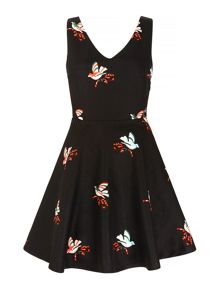 Mela Loves London Bird Print Skater Dress
