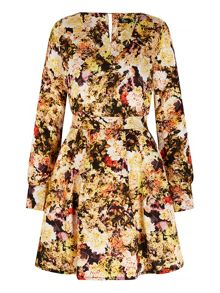 Mela Loves London Rose Print Long Sleeve Dress
