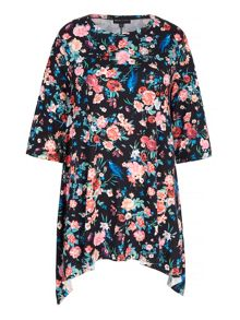 Mela Loves London Floral Print Jersey Swing Top