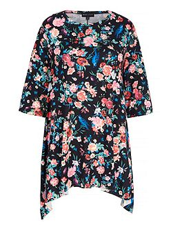 Floral Print Jersey Swing Top