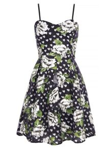 Mela Loves London Floral Heart Print Prom Dress