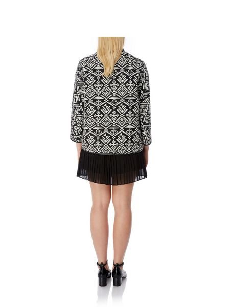 Mela London Monochrome Aztec Print Jacket