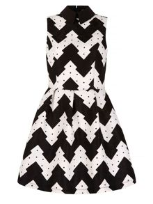 Mela Loves London Zig Zag Print Collar Skater Dress