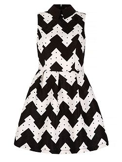 Zig Zag Print Collar Skater Dress