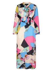 Mela Loves London Patchwork Print Pussybow Maxi Dress