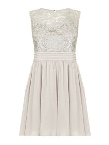 Mela London Silver Lace Prom Dress
