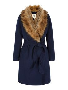 Yumi Faux Fur Collar Wrap Coat