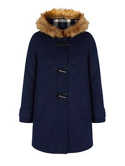 Faux Fur Hood Duffle Coat