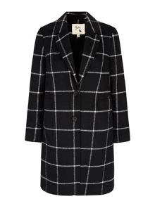 Check Print Tailored Coat