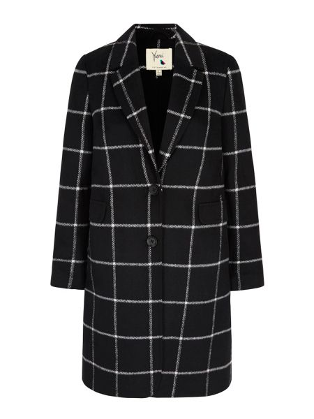 Yumi Check Print Tailored Coat