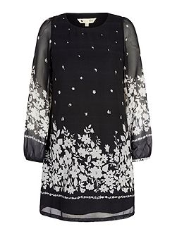 Monochrome Floral Print Tunic Dress