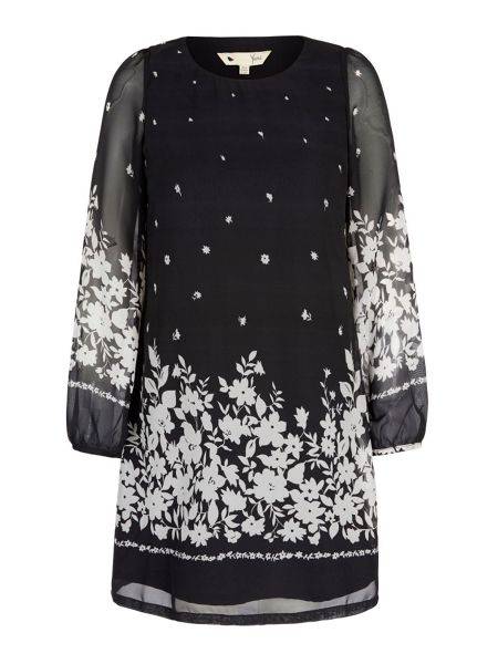 Yumi Monochrome Floral Print Tunic Dress