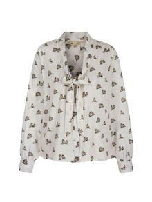 Owl Print Pussybow Blouse