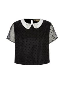 Yumi Polka Dot Embellished Collar Crop Top