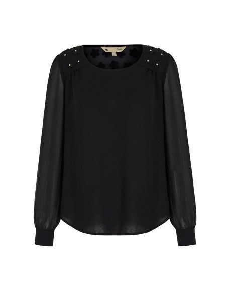 Yumi Embellished Shoulder Tunic Top