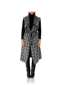 Mela Loves London Check Print Sleeveless Coat