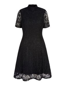 Yumi Floral Print Lace High Neck Dress