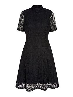Floral Print Lace High Neck Dress