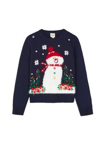 Yumi Girls Girls Snowman Embroidered Jumper