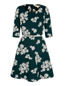 Uttam Boutique Monochrome Floral Long Sleeved Dress