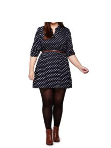 Yumi Curves Printed Tunic Belt Dress