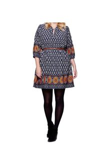 Yumi Curves Yumi Curves Tile Printed Belt Dress