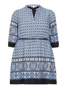 Yumi Curves Tile Print Tunic Belt Dress