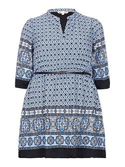 Tile Print Tunic Belt Dress