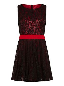 Lace Contrast Prom Dress