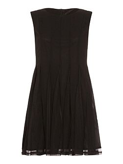 Sheer Pleated Skater Dress