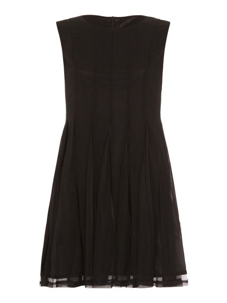 Mela London Sheer Pleated Skater Dress