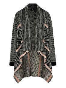 Mela Loves London Mix Print Knitted Long Cardigan