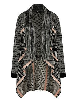 Mix Print Knitted Long Cardigan