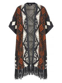 Mela Loves London Aztec Print Fringe Poncho Cardigan