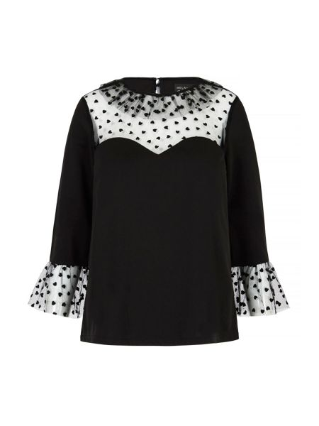 Mela London Heart Print Sweetheart Tunic Top