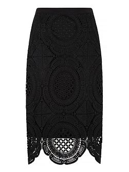 Broderie Lace Pencil Skirt
