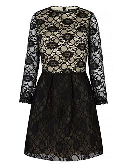 Lace Contrast Long Sleeve Dress