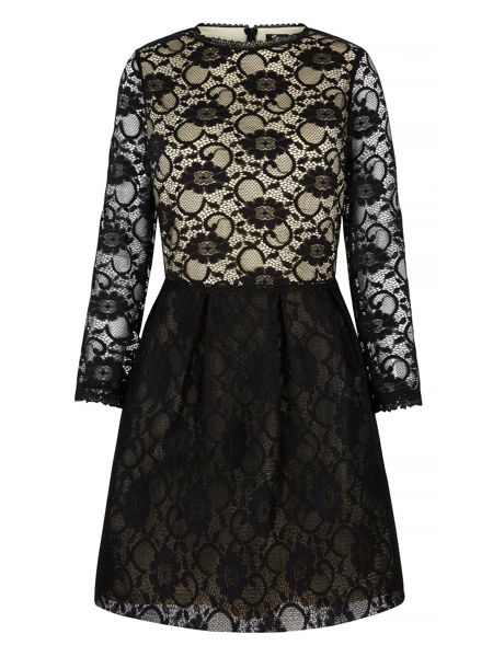 Mela London Lace Contrast Long Sleeve Dress