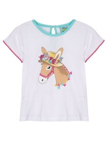 Uttam Girls Donkey in a Hat Print T-Shirt