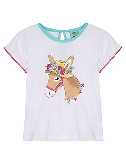 Girls Donkey in a Hat Print T-Shirt