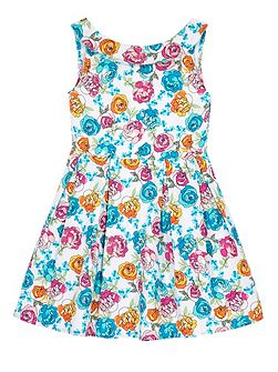Girls Floral Print Boat Neck Dress